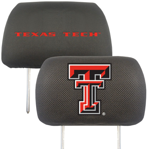 """Set of 2 Black and Red NCAA Texas Tech University Raiders Head Rest Cover Accessories 10"""" x 13"""" - IMAGE 1"""