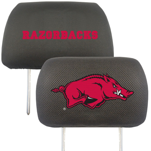 """Set of 2 Black and Red NCAA University of Arkansas Razorbacks Head Rest Cover Accessories 10""""x 13"""" - IMAGE 1"""