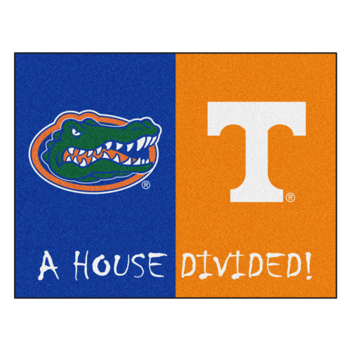 """33.75"""" x 42.5"""" Blue and Orange NCAA House Divided Florida Tennessee Area Rug - IMAGE 1"""