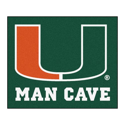 "59.5"" x 71"" Green and Orange NCAA University of Miami Hurricanes Rectangular Mat Area Rug - IMAGE 1"