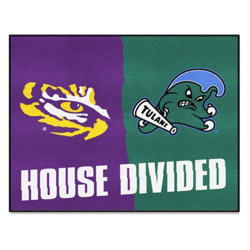 """33.75"""" x 42.5"""" Green and Yellow NCAA LSU - Tulane House Divided Rectangular Door Mat - IMAGE 1"""