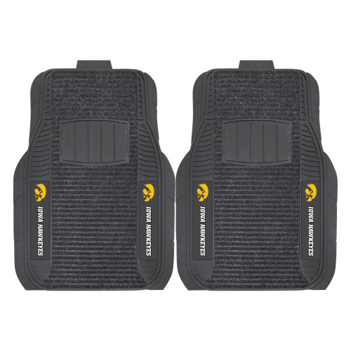 """Set of 2 Black and White NCAA University of Iowa Hawkeyes Deluxe Car Mats 21"""" x 27"""" - IMAGE 1"""