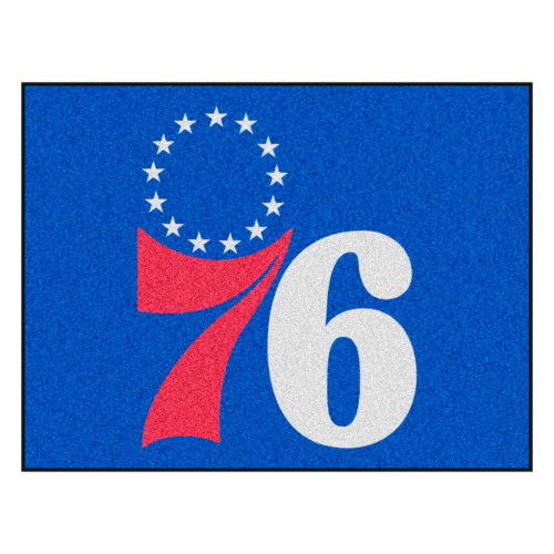 """33.75"""" x 42.5"""" Blue and Red NBA Philadelphia 76ers Rectangular All-Star Mat Outdoor Area Rug - IMAGE 1"""
