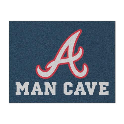 "33.75"" x 42.5"" Blue and White Contemporary MLB Atlanta Braves Rectangular Mat - IMAGE 1"