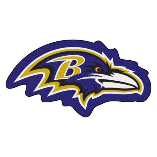"""36"""" x 19"""" Purple and Gold NFL Baltimore Ravens Mascot Logo Area Rug - IMAGE 1"""