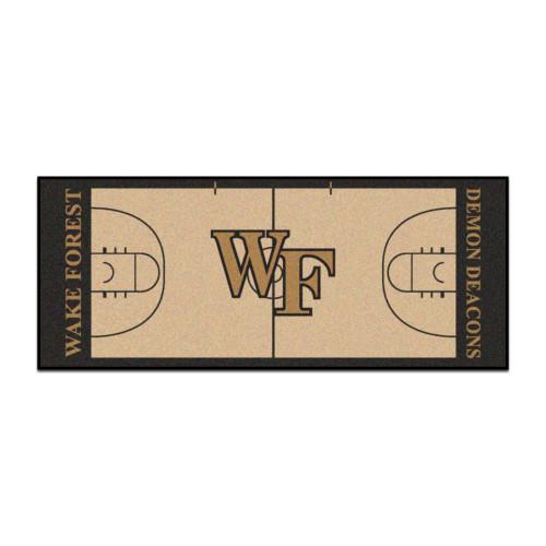 "30"" x 72"" Black and Beige NCAA Wake Forest University Demon Deacons Basketball Mat Area Rug Runner - IMAGE 1"