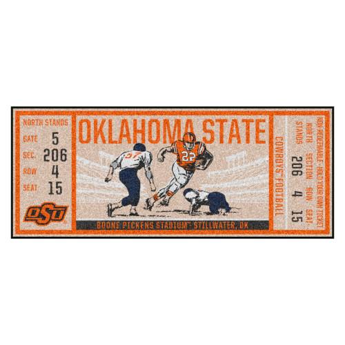 "30"" x 72"" Beige and Orange NCAA Oklahoma State University Cowboys Ticket Mat Area Rug Runner - IMAGE 1"