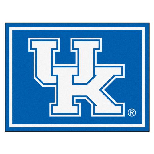 7.25' x 9.75' Blue and White NCAA University of Kentucky Wildcats Plush Rectangular Area Rug - IMAGE 1