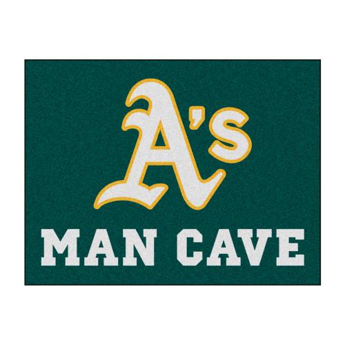 "33.75"" x 42.5"" Green MLB Oakland Athletics Man Cave All-Star Rectangular Mat Area Rug - IMAGE 1"
