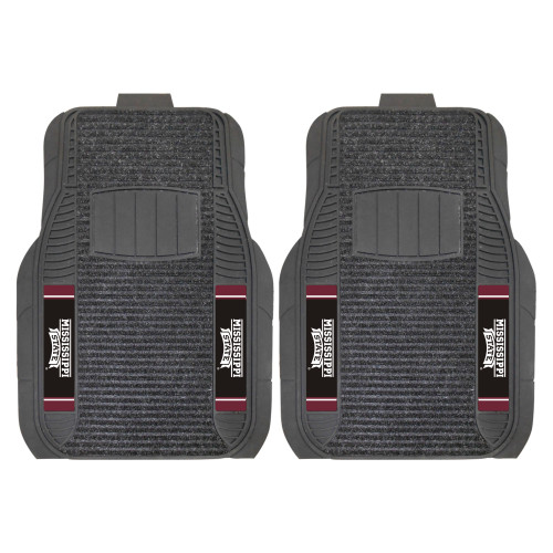 """Set of 2 Gray and Black NCAA Mississippi State University Bulldogs Front Car Mats 21"""" x 27"""" - IMAGE 1"""