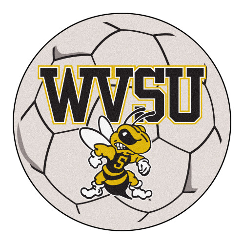 """27"""" Red and White NCAA West Virginia State University Yellow Jackets Soccer Ball Mat - IMAGE 1"""