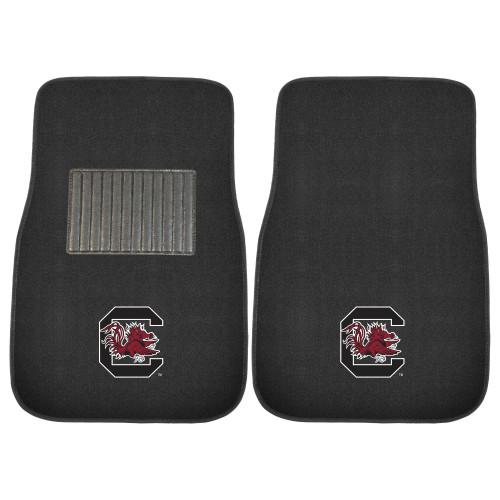 "Set of 2 Black and Red NCAA University of South Carolina Gamecocks Car Mats 17"" x 25.5"" - IMAGE 1"