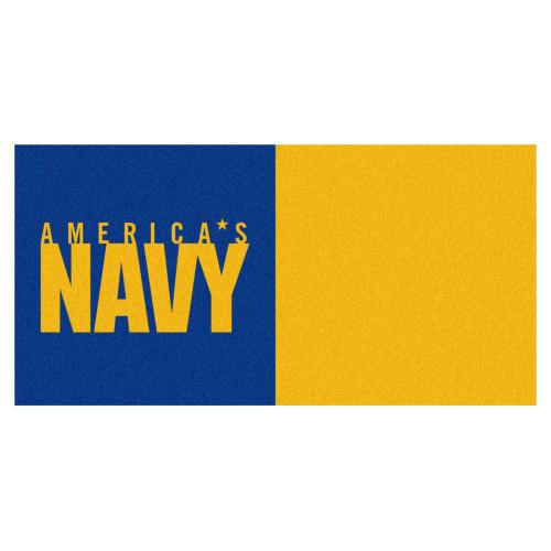 "20pc Yellow and Blue U.S. Navy Team Carpet Tiles 18"" x 18"" - IMAGE 1"