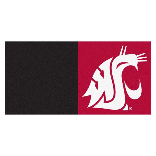 "Set of 20 Black and Red NCAA Washington State University Cougars Team Carpet Tiles 18"" x 18"" - IMAGE 1"