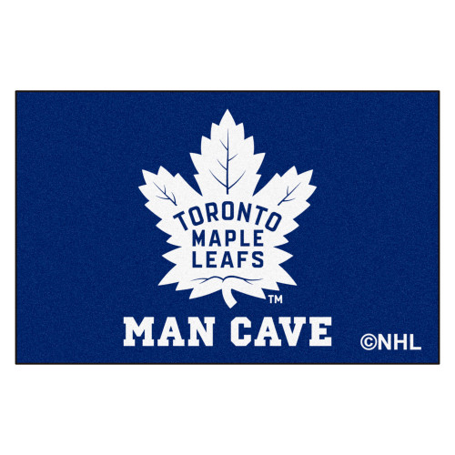 """19"""" x 30"""" Blue and White NHL Toronto Maple Leafs Man Cave All-Star Rectangular Door Mat - IMAGE 1"""