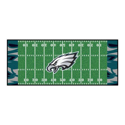 2.5' x 6' White and Green NFL Philadelphia Eagles X-Fit Football Field Rectangular Area Rug Runner - IMAGE 1