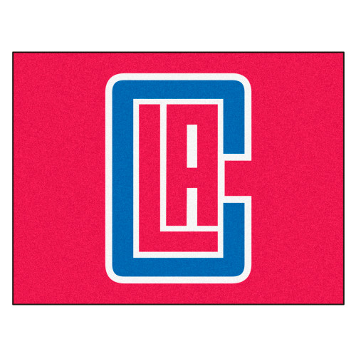 """33.75"""" x 42.5"""" Red and Blue NBA Los Angeles Clippers Rectangular All-Star Mat Outdoor Area Rug - IMAGE 1"""