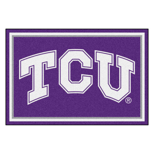 5' x 8' Purple and White NCAA Texas Christian University Horned Frogs Non-Skid Area Rug - IMAGE 1