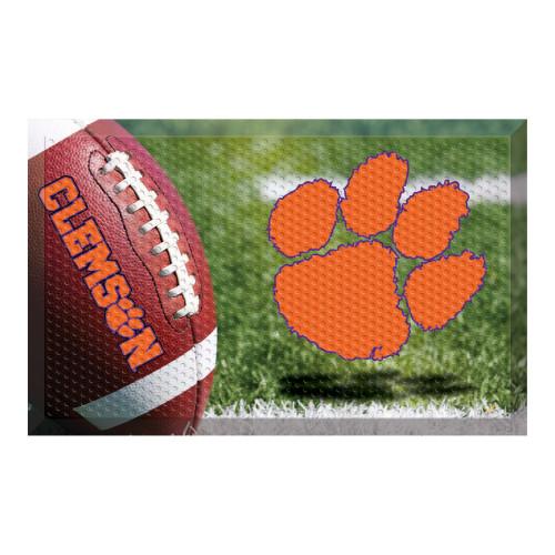 """19"""" x 30"""" Green and Orange NCAA Clemson University Tigers Scraper Rectangular Door Mat - IMAGE 1"""