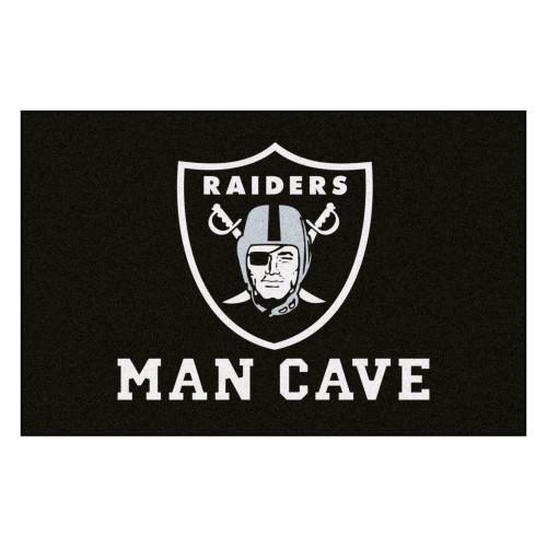 "19"" x 30"" Black and White NFL Raiders Man Cave Starter Rectangular Mat Area Rug - IMAGE 1"