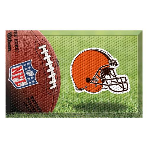 """19"""" x 30"""" Brown and Orange NFL Cleveland Browns Shoe Scraper Door Mat - IMAGE 1"""