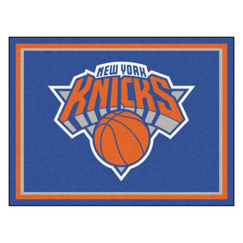 7.25' x 9.75' Orange and Blue NBA New York Knicks Plush Non-Skid Area Rug - IMAGE 1