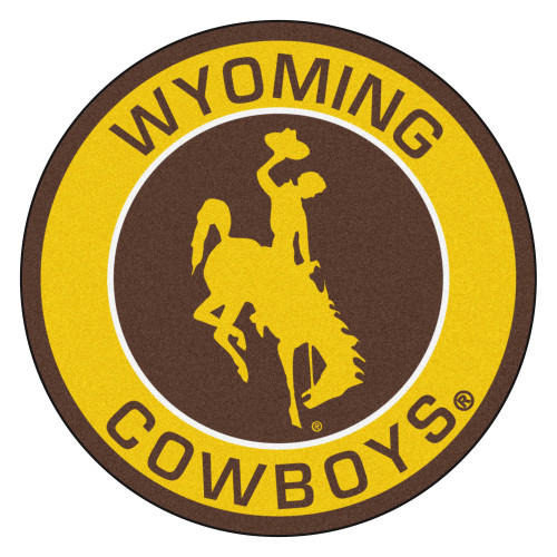 """27"""" Yellow and Brown NCAA University of Wyoming Cowboys Rounded Door Mat - IMAGE 1"""