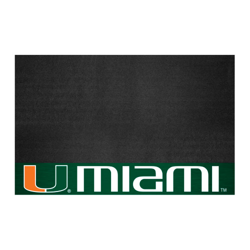 """26"""" x 42"""" Black and Green NCAA Hurricanes Grill Mat Tailgate Accessory - IMAGE 1"""