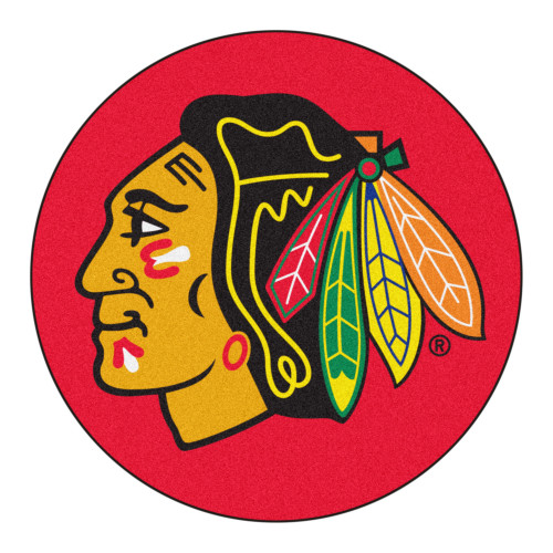 """27"""" Red and Green NHL Blackhawks Puck Mat Round Area Rug - IMAGE 1"""