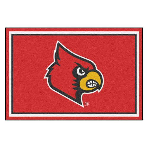 4.9' x 7.3' Yellow and Red NCAA University of Louisville Cardinals Plush Area Rug - IMAGE 1