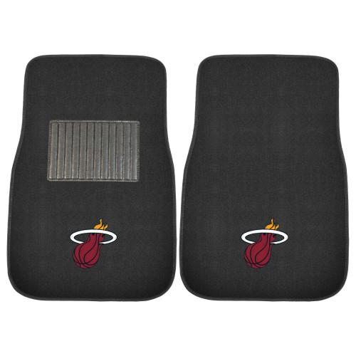 "Set of 2 Black and Red NBA Miami Heat Car Mats 17"" x 25.5"" - IMAGE 1"