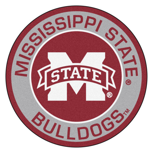"""27"""" Red NCAA Mississippi State University Bulldogs Rounded Door Mat - IMAGE 1"""