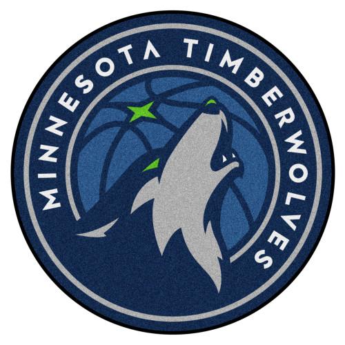 "27"" Blue and Gray NBA Minnesota Timberwolves Rounded Door Mat - IMAGE 1"