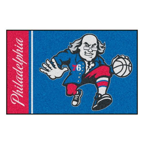 "19"" x 30"" Blue and Red NBA Philadelphia 76ers Rectangular Starter Mat - IMAGE 1"