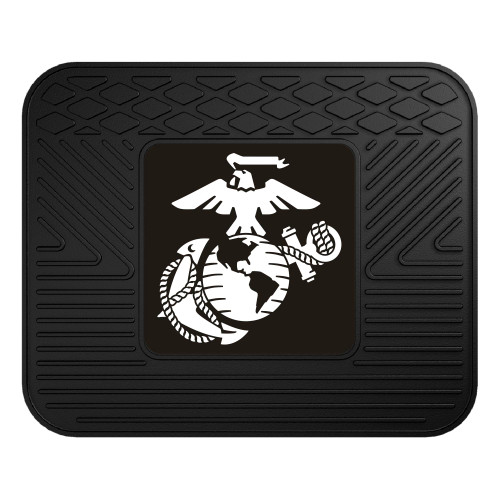 "14"" x 17"" Black and White U.S. Marines Rear Car Seat Utility Mat - IMAGE 1"