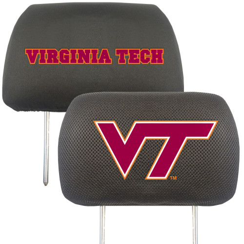 "Set of 2 Black and Red NCAA Virginia Tech Hokies Head Rest Cover Accessories 10' x 13"" - IMAGE 1"