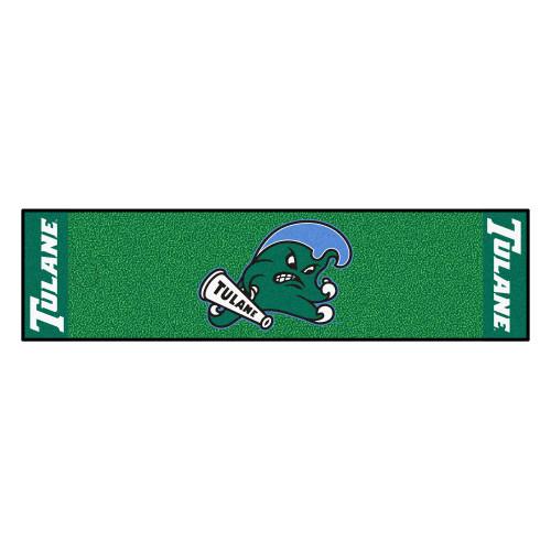 "18"" x 72"" Green NCAA Tulane University Green Wave Putting Golf Mat - IMAGE 1"
