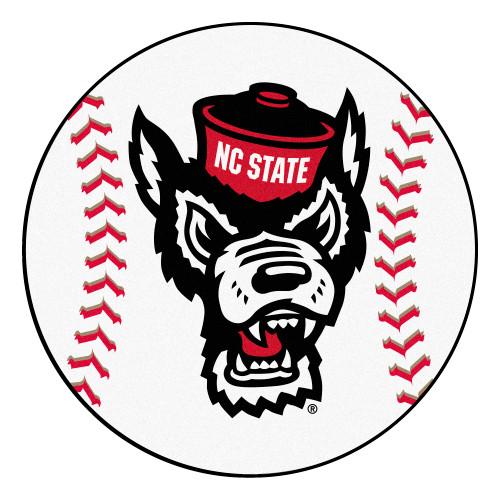 """27"""" Black and White NCAA North Carolina State University Wolfpack Baseball Shaped Mat Area Rug - IMAGE 1"""