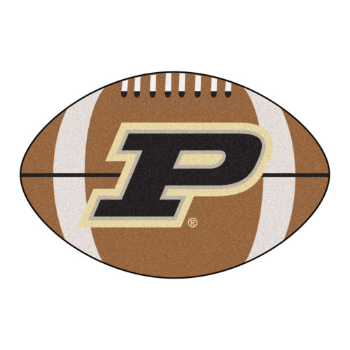 """20.5"""" x 32.5"""" Brown and Black NCAA Purdue University Boilermakers Football Shaped Mat Area Rug - IMAGE 1"""