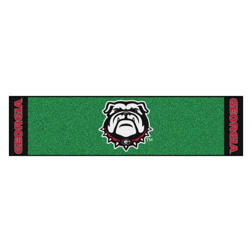 "18"" x 27"" Green and Black NCAA University of Georgia Bulldogs Putting Golf Mat - IMAGE 1"