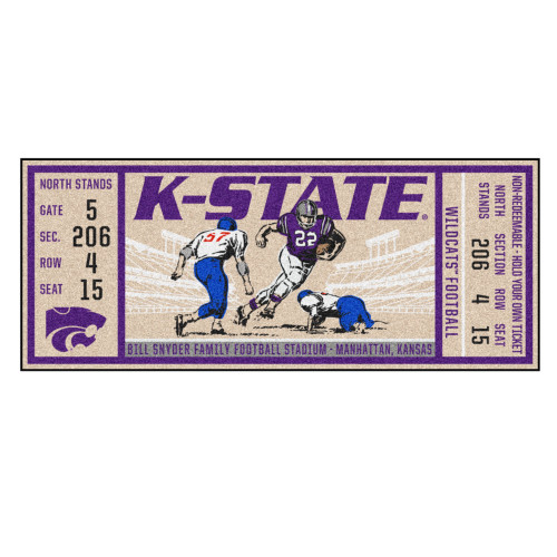 "30"" x 72"" Beige and Purple NCAA Kansas State University Wildcats Ticket Mat Area Rug Runner - IMAGE 1"
