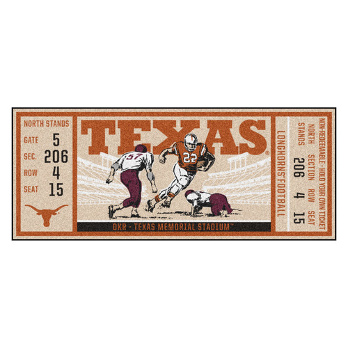 "30"" x 72"" Orange NCAA University of Texas Longhorns Ticket Non-Skid Mat Area Rug Runner - IMAGE 1"