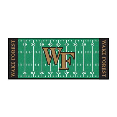 "30"" x 72"" Black and Green NCAA Wake Forest University Demon Deacons Football Runner Mat Area Rug - IMAGE 1"