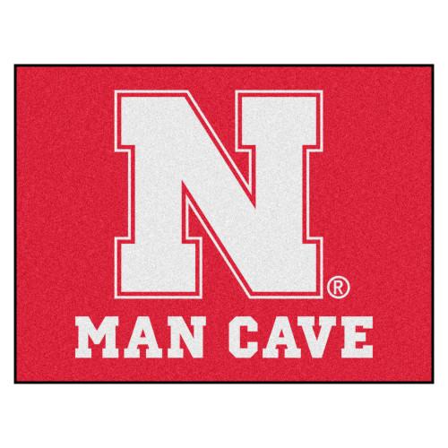 "33.75"" x 42.5"" Red and White NCAA University of Nebraska Rectangular Mat Area Rug - IMAGE 1"