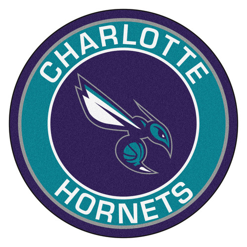 """27"""" Blue and Purple NBA Charlotte Hornets Rounded Door Mat - IMAGE 1"""