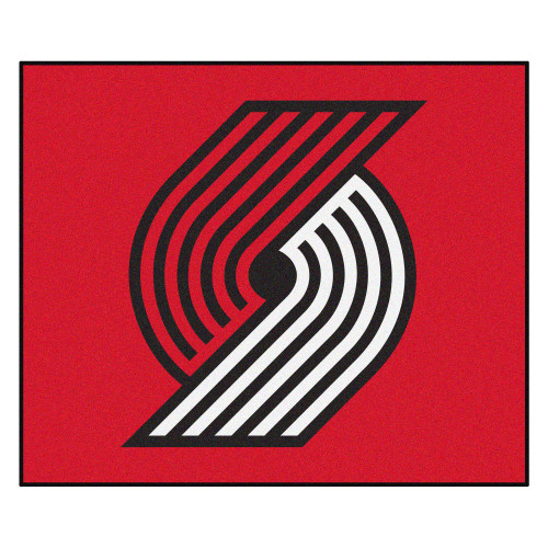 """59.5"""" x 71"""" Red and White NBA Portland Trail Blazers Rectangular Tailgater Mat Outdoor Area Rug - IMAGE 1"""