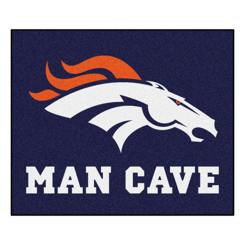 "59.5"" x 71"" Blue and White NFL Denver Broncos ""Man Cave"" Tailgater Area Rug - IMAGE 1"