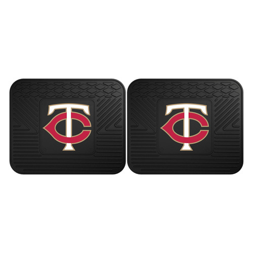 "Set of 2 Black and Red MLB Minnesota Twins Heavy Duty Rear Car Floor Mats 14"" x 17"" - IMAGE 1"