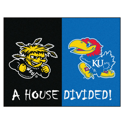 """33.75"""" x 42.5"""" Black and Blue NCAA House Divided Wichita State Kansas Area Rug - IMAGE 1"""