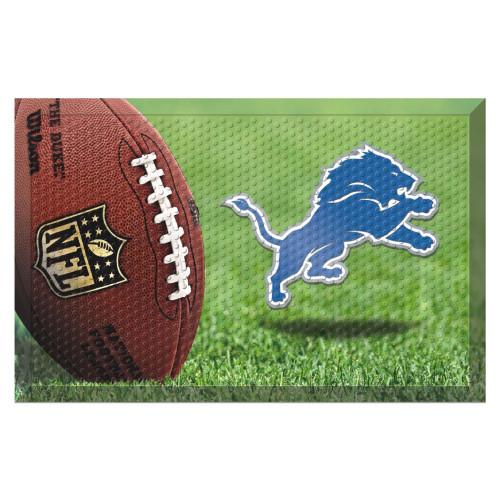 """19"""" x 30"""" Brown and Blue NFL Detroit Lions Shoe Scraper Door Mat - IMAGE 1"""